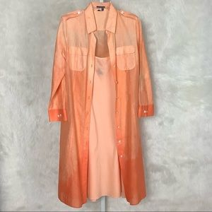 Theory Ombre Orange Cotton 2 Piece Shirt Dress